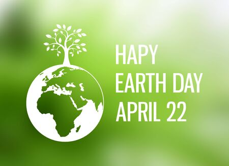 Happy Earth Day Poster with Planet Earth and tree. Environmental concept with eco planet earth. Earth Day Poster, April 22