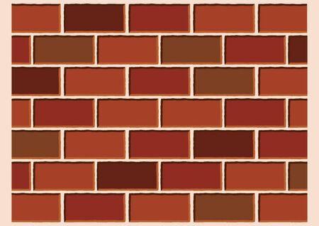 Vector Illustration Keywords: Red Brick Wall Grunge Texture Background Vector. Dark red bricks texture pattern. Reddish Brown Brick Wall Background Ilustração
