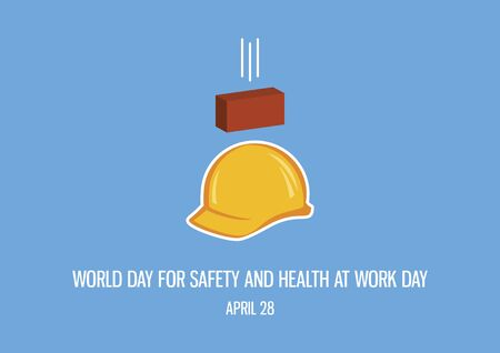 World Day for Safety and Health at Work Day vector. Accident at work vector. Yellow work helmet vector. Protective helmet icon. Falling brick icon. Important day