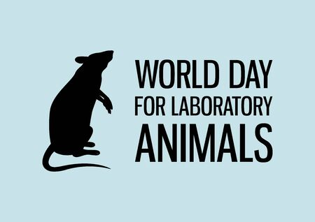 World Day for Laboratory Animals vector. Laboratory rat black silhouette vector. Experimental mouse icon. Experimental animal vector. Stop animal testing icon. Important day