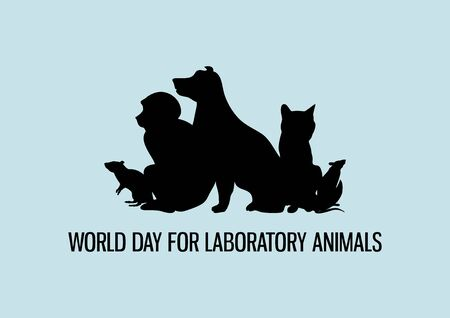 World Day for Laboratory Animals vector. Laboratory animals black silhouette vector. Group of experimental animals vector. Experimental animal icon. Stop animal testing icon. Important day  イラスト・ベクター素材