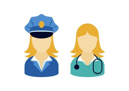 Professional woman ccupation icon set vector. Female worker icon set. Woman worker with blond hair vector. Doctor and policewoman clip art. Caucasian women employment vector. Women in uniform icon Ilustração