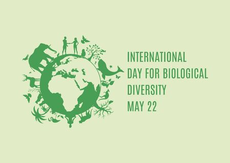 International Day for Biological Diversity vector. Planet Earth with fauna and flora icon. Green planet earth vector. Wild animals silhouette vector. Environmental concept. Biodiversity Day Poster, May 22. Important day  イラスト・ベクター素材