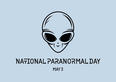 National Paranormal Day vector. Alien face cartoon character. Alien head on a gray background. Gray Alien vector. Paranormal Day Poster, May 3. Important day