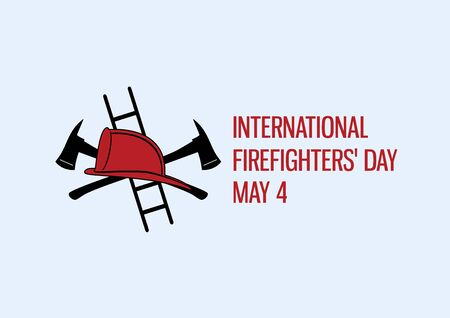 International Firefighters' Day vector. Firefighting equipment icon. Fire helmet and ax isolated vector. Firefighters' Day Poster, May 4. Important day 向量圖像