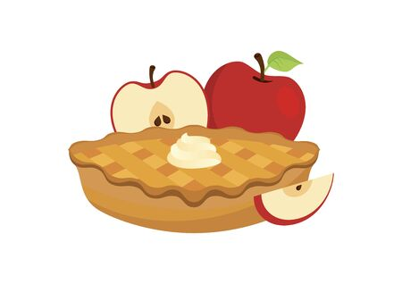 Apple Pie with apples icon vector. Cake with whipped cream vector. Dessert with apples vector. Classic american pie clip art. Apple Pie icon isolated on a white background 向量圖像