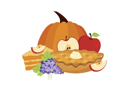 Traditional thanksgiving sweet food vector. Thanksgiving day meal icon. Classic american pie clip art. Apple Pie icon isolated on a white background. Autumn food vector. Pumpkin and fruitcake icon