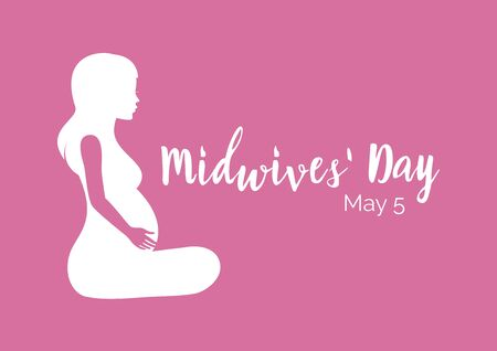 International Midwives' Day vector. Pregnant woman kneeling icon. Silhouette of pregnant woman vector. Abstract pregnant woman icon. Midwives Day Poster, May 5. Important day