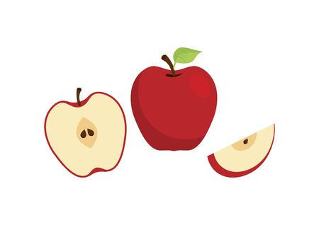 Red apples icon set vector. Sliced apple vector. Red apple icon isolated on a white background. Half an apple vector. A piece of sliced apple icon