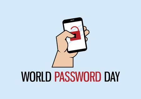 World Password Day vector. Password protected mobile phone vector. Hand with mobile phone icon vector. Phone with lock icon. Important day