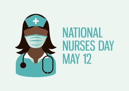 National Nurses Day vector. Female nurse with stethoscope icon vector. African American medic woman icon vector. Woman doctor wearing protective mask icon. Nurse with medicine mask icon vector 向量圖像