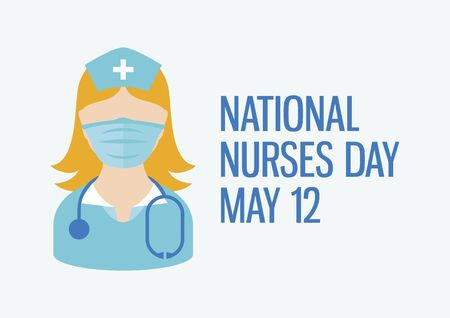 National Nurses Day vector. Female nurse with stethoscope icon vector. Caucasian medic woman icon vector. Woman doctor wearing protective mask icon. Nurse with medicine mask icon vector