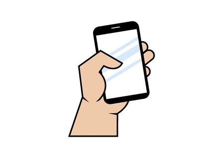 Hand with mobile phone vector. Hand holding mobile icon vector. Hand holding smartphone icon isolated on a white background 向量圖像
