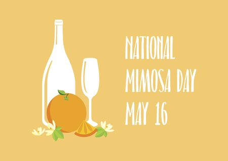 National Mimosa Day vector. Glasses of champagne with orange vector icon. Mimosa vector illustration. Mixed drink with orange juice. Mimosa Day Poster, May 16. Important day