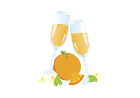 Glasses of champagne with orange vector icon. Mimosa celebratory toast vector. Mixed drink with orange juice icon. Mimosa drink icon isolated on a white background