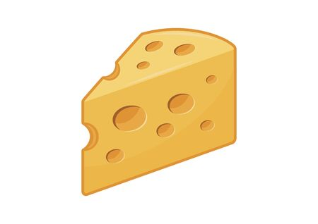 Piece of cheese icon vector. Cheese icon isolated on a yellow background. Yellow cheese with holes icon vector