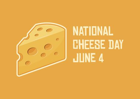 National Cheese Day vector. Piece of cheese vector. Cheese icon isolated on a yellow background. Cheese Day Poster, June 4. Important day