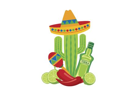 Mexico colored symbols vector. Mexican design elements vector. Mexico icon isolated on a white background. Mexican national holiday vector