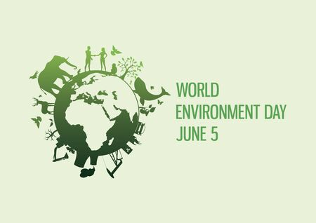 World Environment Day with nature and environment icon vector. Planet Earth with fauna and flora icon. Polluted environment vector. Industry and nature vector. Wild animals silhouette vector. Environment Day Poster, June 5. Important day