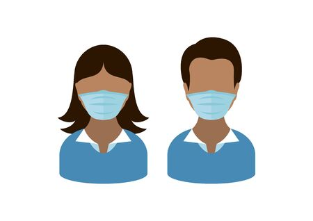 Man and woman wearing medical mask on face to prevent Covid-19 vector. People with coronavirus mask vector. Face with protective mask icon. Coronavirus vector. Coronavirus COVID-19 disease vector