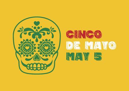 Cinco de Mayo Mexican national holiday with decorative skull vector. Mexican attributes vector. Mexican skull outline. Mexican decorative skull icon vector. Cinco de Mayo Poster, May 5. Important day