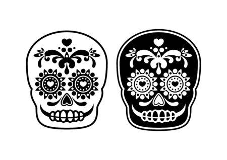 Mexican sugar skull outline icon vector. Mexican attributes vector. Mexican skull outline vector. Mexican decorative skull icon set isolated on a white background. Calavera black and white icon