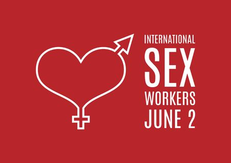 International Sex Workers Day vector. Whores' Day vector. Gender symbol with heart icon vector. Red background with heart shape, he and she. Sex Workers Day Poster, June 2. Important day 向量圖像