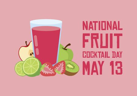National Fruit Cocktail Day vector. Mix smoothie icon vector. Delicious and healthy fruit juice vector. Glass with strawberry and apple juice vector. Fruit Cocktail Day Poster, May 13. Important day 向量圖像