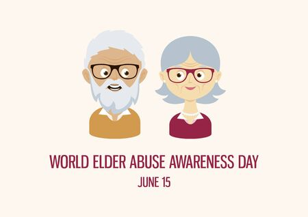 World Elder Abuse Awareness Day vector. Happy and smiling elderly senior couple vector. Happy old man and woman vector. Senior couple cartoon character. Grandpa and Grandma icon set. Important day