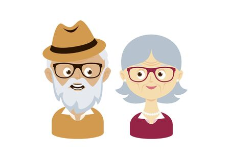 Happy and smiling elderly senior couple vector. Happy old man and woman vector. Senior couple in love cartoon character. Grandpa and Grandma icon set. Pensioners isolated on a white background