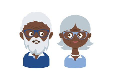 Happy and smiling elderly senior couple vector. Happy old man and woman vector. Senior couple in love cartoon character. African american Grandpa and Grandma icon set. Pensioners on a white background 向量圖像