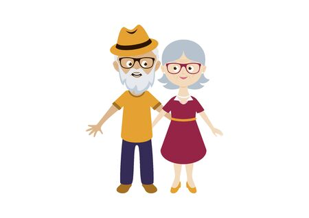Happy and smiling elderly senior couple vector. Happy old man and woman vector. Senior couple in love cartoon character. Cute Grandpa and Grandma icon set. Pensioners isolated on a white background. Modern senior vector