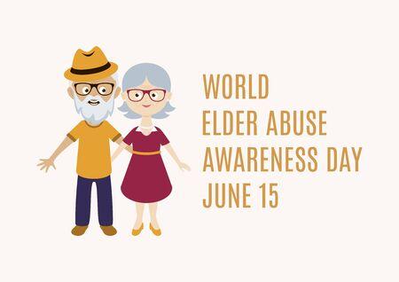 World Elder Abuse Awareness Day vector. Happy and smiling elderly senior couple vector. Happy old man and woman vector. Senior couple in love cartoon character. Grandpa and Grandma vector. Cute elder Vettoriali
