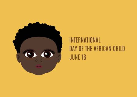 International Day of the African Child vector. Beautiful dark skin children icon. Cute face of the African Child vector. Adorable african baby vector. Day of the African Child Poster, June 16. Important day