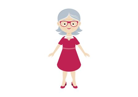 Stylish elderly woman icon vector. Stylish senior lady vector. Happy and smiling elderly woman vector. Happy old woman icon. Modern elderly woman in a pink dress and glasses vector. Cute elderly lady cartoon character