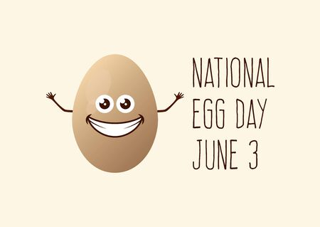 National Egg Day vector. Happy egg cartoon character. Cheerful egg icon vector. Egg Day Poster, June 3. Important day 向量圖像