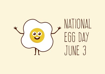 National Egg Day vector. Happy fried egg cartoon character. Cheerful egg icon vector. Egg Day Poster, June 3. Important day