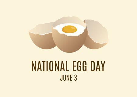 National Egg Day vector. Raw egg in shell vector. Egg icon vector. Broken eggs cracked open eggshell vector. Egg Day Poster, June 3. Important day
