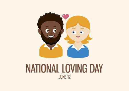 National Loving Day vector. Happy and smiling mixed couple vector. Mixed race couple in love cartoon character. African american man and caucasian woman icon vector. Loving Day Poster, June 12. Important day