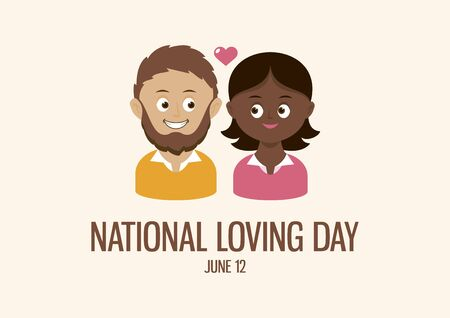 National Loving Day vector. Happy and smiling mixed couple vector. Mixed race couple in love cartoon character. African american woman and caucasian man icon vector. Loving Day Poster, June 12. Important day Illustration
