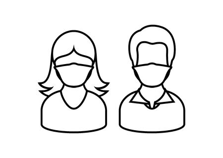 Man and woman wearing medical mask on face to prevent Covid-19 vector. People with coronavirus mask silhouette. Face with protective mask outline. Coronavirus vector. Coronavirus COVID-19 disease icon