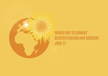 World Day to Combat Desertification and Drought Vector. Ecological disaster vector illustration. Overheated planet Earth icon. Superheated planet Earth vector. Global Warming Poster. Important day 向量圖像