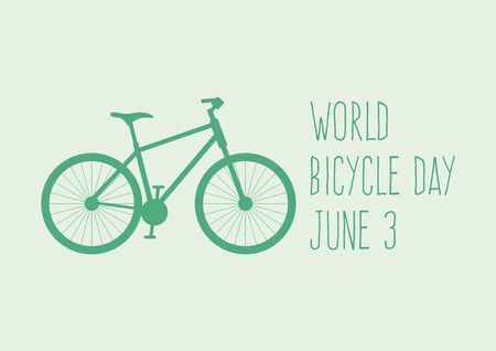 World Bicycle Day vector. Green bicycle icon vector. Bike silhouette isolated on a green background. Bicycle Day Poster, June 3. Important day