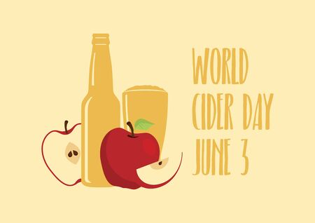 World Cider Day vector. Apple juice icon vector. Apple cider vector. Apples with bottle and glass vector. Fermented fruit drink icon. Cider Day Poster, June 3. Important day 向量圖像
