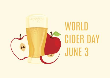 World Cider Day vector. Apple juice icon vector. Apple cider vector. Glass of cider with apples vector. Fermented fruit drink icon. Cider Day Poster, June 3. Important day 向量圖像