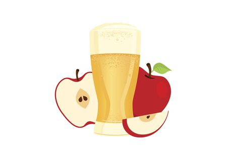 Glass of cider with apples vector. Apple juice icon vector. Apple cider icon isolated on a white background. Fermented fruit drink icon