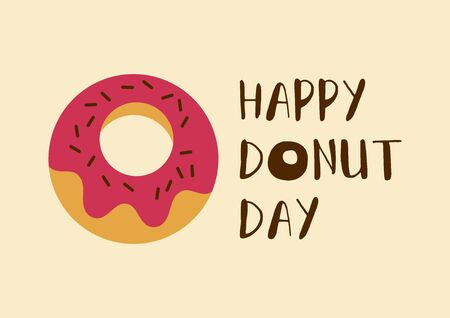 Happy Donut Day inscription with pink donut vector. National Donut Day vector. Donut with pink icing icon vector. American delicacy food vector