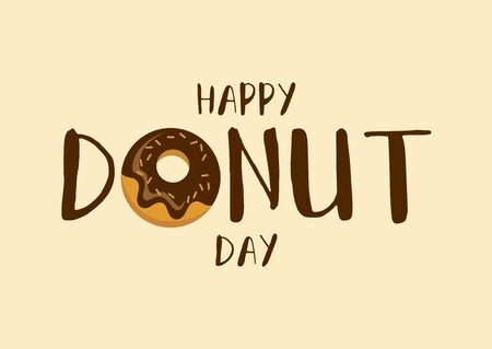 Happy Donut Day inscription with chocolate donut vector. National Donut Day vector. Donut with chocolate icing icon vector. American delicacy food vector