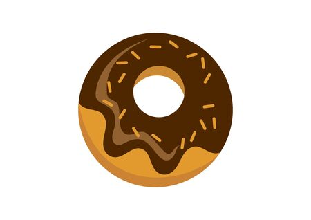 Donut with chocolate icing icon vector. Chocolate donut vector. Donut icon isolated on a white background. American delicacy food vector 向量圖像
