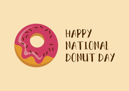 Happy National Donut Day inscription with pink donut vector. National Donut Day vector. Donut with pink icing icon vector. American delicacy food vector 向量圖像